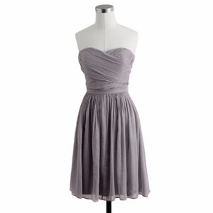 [J. Crew] Arabelle Silk Chiffon Strapless Dress